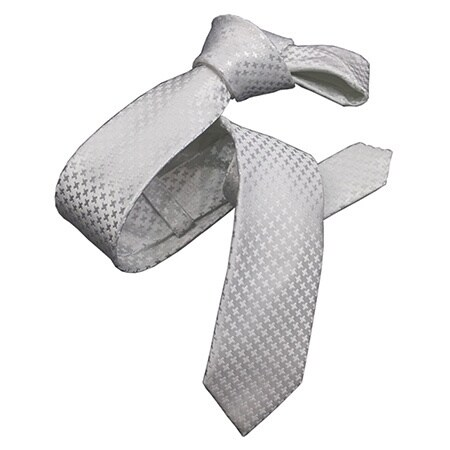Dmitry Men's Italian Skinny White Houndstooth Silk Tie
