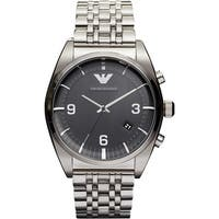 Emporio Armani  Men's Stainless Steel Etched Black Dial Watch