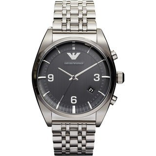 Emporio Armani AR0369 Men's Stainless Steel Etched Black Dial Watch