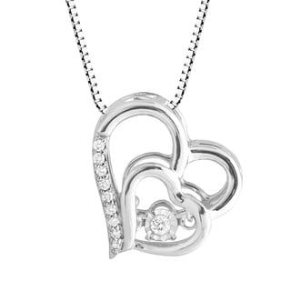 Sterling Silver 'Dancing' Diamond Accent Heart Pendant Necklace