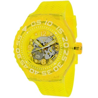 Swatch Women's SUUJ101 Lemon Profond Round Yellow Rubber Strap Watch