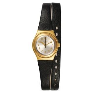 Swatch Women's YSG137 Irony Round Black Leather Strap Watch