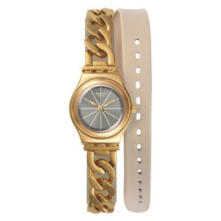 Swatch Women's YSG139 Irony Round Gold-tone Stainless Steel Bracelet Watch