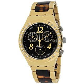 Swatch Women's YCG405GC Dreamnight Round Gold-tone with Tortoise Acetate Bracelet Watch