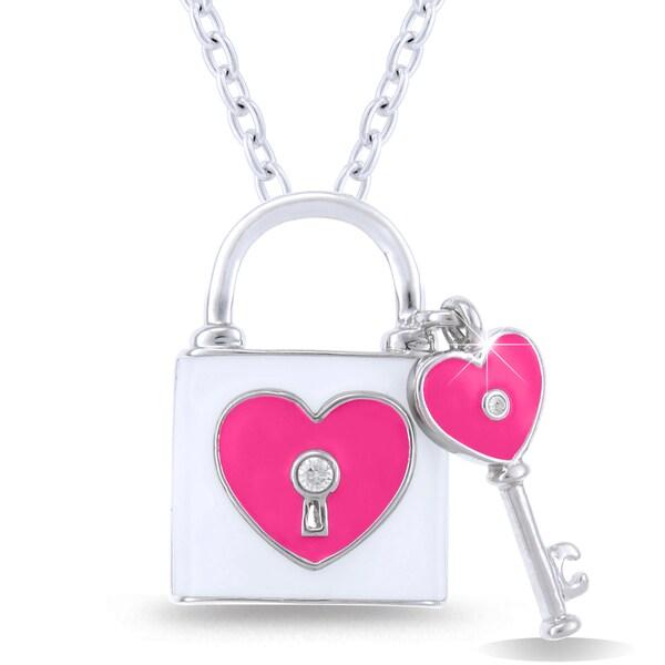 Shop Caressa Sterling Silver Diamond Accent Lock Amp Key