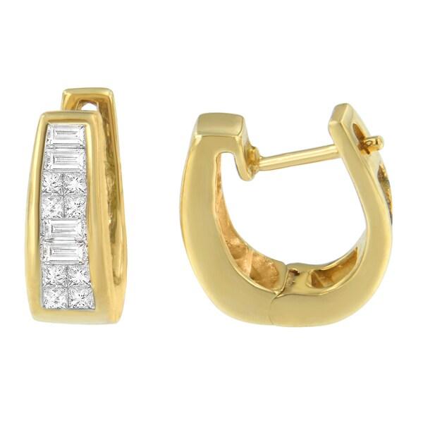 14k Yellow Gold 1 2ct Tdw Princess And Baguette Diamond Earrings I J Vs1