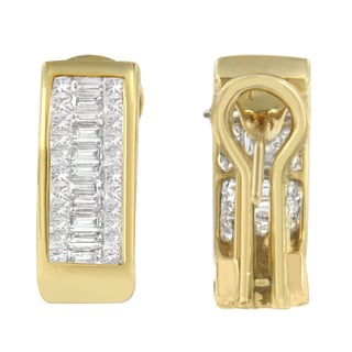 14k Yellow Gold 1ct TDW Diamond Princess and Baguette Earrings (H-I, SI1-SI2)