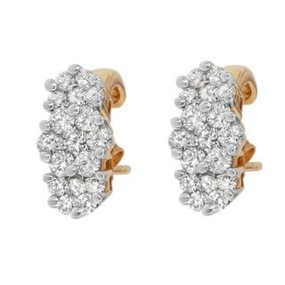 14k Yellow Gold 2 1/2ct TDW Diamond Cluster Earrings (J-K, I1-I2 )