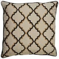 Nikki Chu Tribal Pattern Taupe/Black Linen Poly Fill Pillow - 22 inch