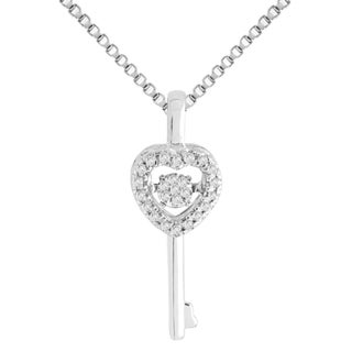 Sterling Silver 'Dancing' Diamond Accent Key Pendant Necklace