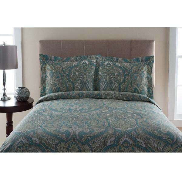 300TC Del Ray Print 100-percent Cotton Duvet Cover Set