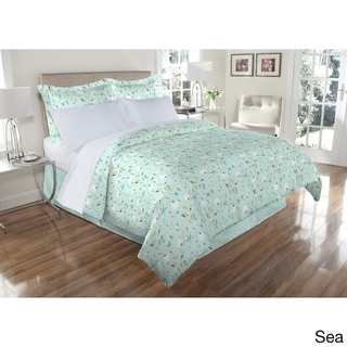 300TC Oceanside Print 100-percent Cotton Duvet Cover Set