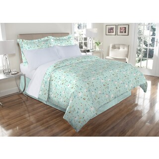 300TC Oceanside Print 100-percent Cotton Duvet Cover Set