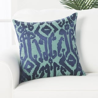 Tribal Pattern Blue Cotton Poly Fill Pillow - 18 inch