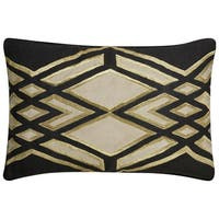 "Nikki Chu Tribal Pattern Black/Taupe Linen Poly Fill Pillow - (16""x24"")"
