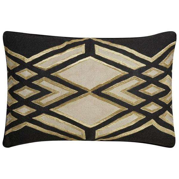"Nikki Chu Tribal Pattern Black/Taupe Linen Poly Fill Pillow - (16""x24"")"