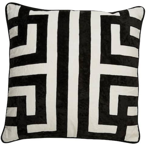 Nikki Chu Tribal Pattern Ivory/Black Linen Poly Fill Pillow - 22 inch