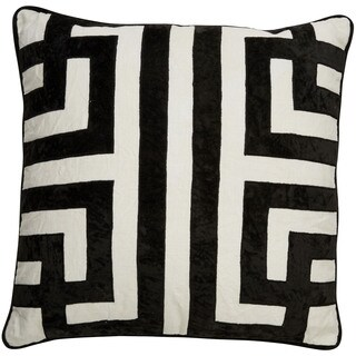 Nikki Chu Tribal Pattern Ivory/Black Linen Poly Fill Pillow - 22 inch