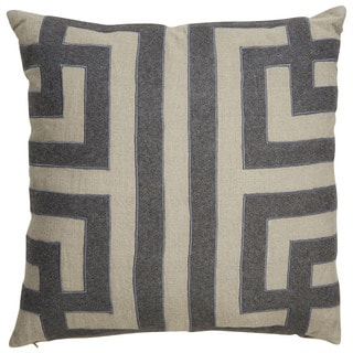 Nikki Chu Tribal Pattern Taupe/Gray Linen Poly Fill Pillow - 22 inch