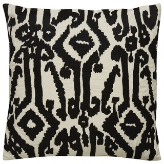 Tribal Pattern Ivory/Black Cotton Poly Fill Pillow - 18 inch