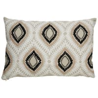 "Nikki Chu Tribal Pattern Taupe/Ivory Linen Poly Fill Pillow - (16""x24"")"
