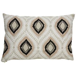 "Nikki Chu Tribal Pattern Taupe/Ivory Linen Poly Fill Pillow - (16""x24"")"