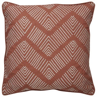Tribal Pattern Brown/Ivory Cotton Poly Fill Pillow - 18 inch