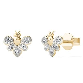 AALILLY 10k Yellow Gold Diamond Accent Bumble Bee Stud Earrings