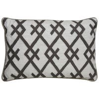 Nikki Chu Tribal Pattern Ivory/Grey Polyester Poly Fill Pillow - (16 x 24-inch)