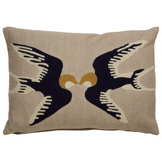 Tribal Pattern Taupe/Blue Cotton Poly Fill Pillow - (14 x 20-inch) (2 options available)