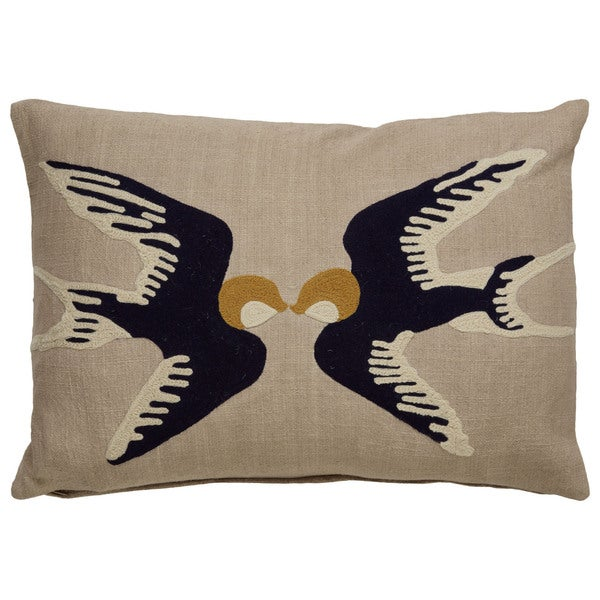 Tribal Pattern Taupe/Blue Cotton Poly Fill Pillow - (14 x 20-inch)
