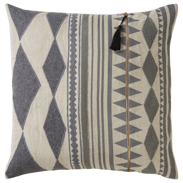 Nikki Chu Tribal Pattern Grey/Ivory Linen 22-inch Pillow