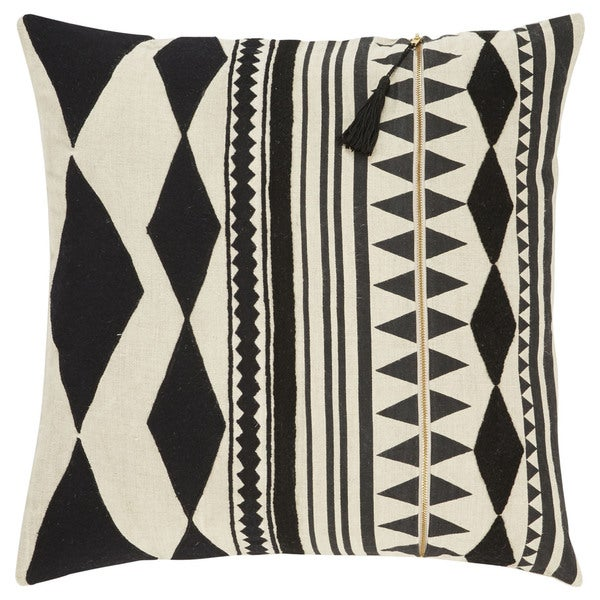 Nikki Chu Tribal Pattern Black/Ivory Linen Poly Fill Pillow - 22 inch