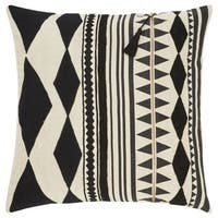 Nikki Chu Tribal Pattern Black/Ivory Linen Poly Fill Pillow - 22 inch