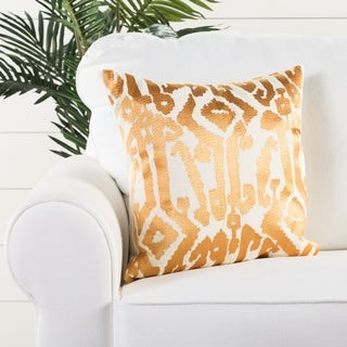 Tribal Pattern Ivory/Yellow Cotton Poly Fill Pillow - 18 inch