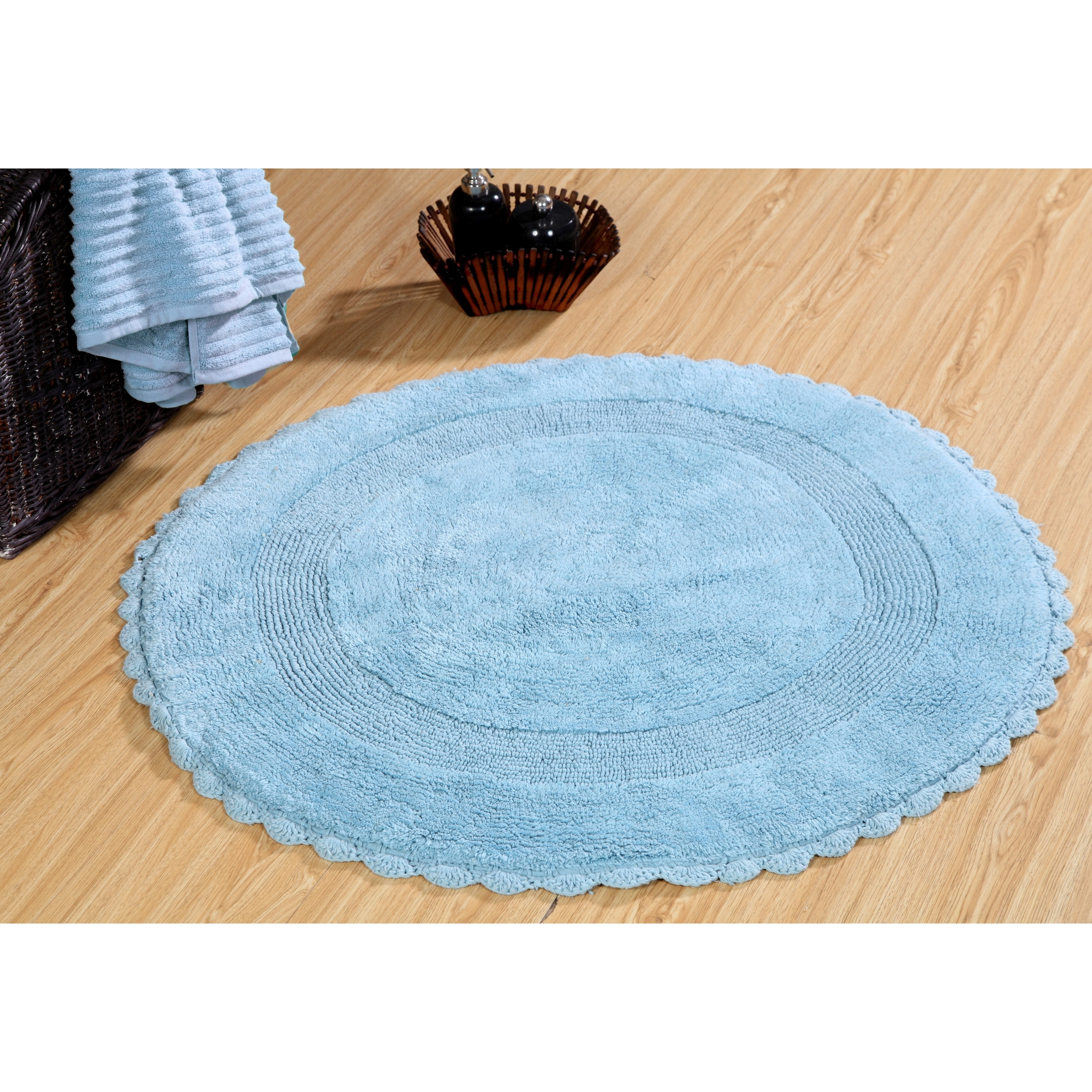 36 Inches Round Cotton Bath Rug Reversible Hand Knitted Crochet Border On Sale Overstock 11352866