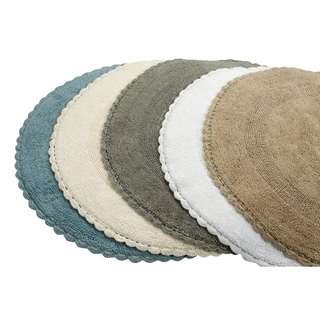 Saffron Fabs Bath Rug, Cotton 36 In Round, Reversible   Different Pattern  On Both