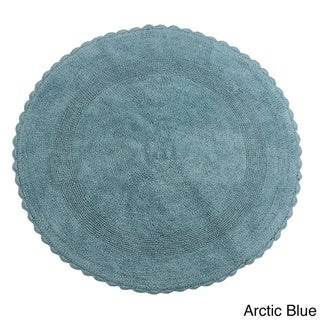 Saffron Fabs Bath Rug, Cotton 36 In Round, Reversible - Different Pattern on Both Sides, Hand Knitted Crochet Lace, Machine Wash