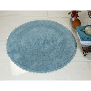 Saffron Fabs Cotton Cotton, Hand-woven Crochet Lace Border Bath Rug (3' x Round)