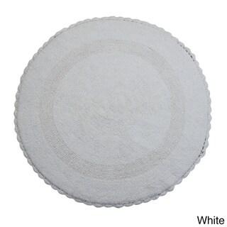 Saffron Fabs Cotton Cotton, Hand-woven Crochet Lace Border Bath Rug (3' x Round)