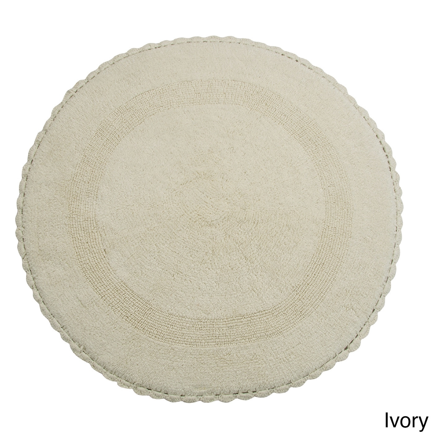 Saffron Fabs Bath Rug, Cotton 36 In Round, Reversible - D...