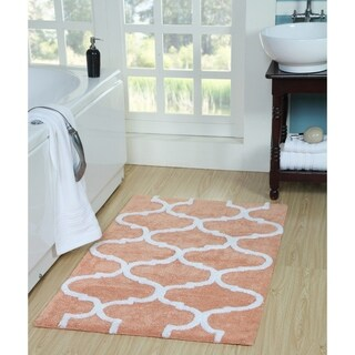 Saffron Fabs Bath Rug, Cotton, Non-Skid, Geometric, Machine Washable