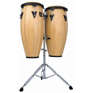 LP Latin Percussion LPA646AW Aspire 10-inch and 11-inch Natural Finish Wood Conga Set with Double Stand