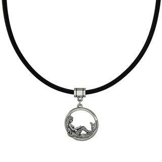 Handmade Jewelry by Dawn Round Mermaid Greek Leather Cord Necklace - Black/ silver (2 options available)