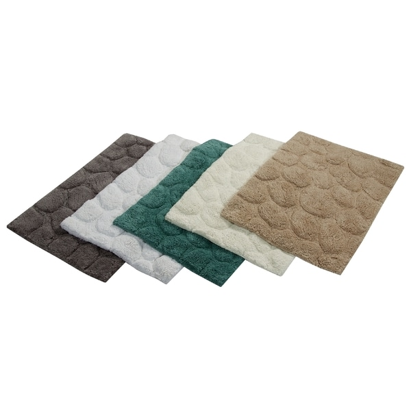 Saffron Fabs White Cotton Pebbles Stone 2-piece Bath Rug Set