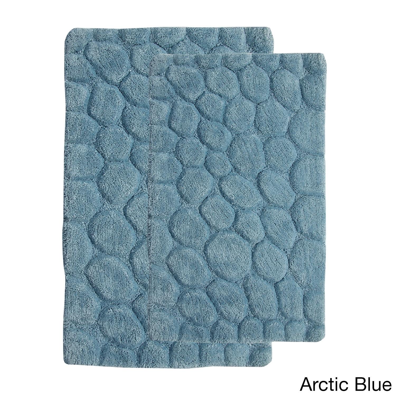 saffron fabs white cotton pebbles stone 2-piece bath rug set | ebay