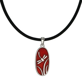 Handmade Jewelry By Dawn Red Dragonfly Leather Cord Necklace USA