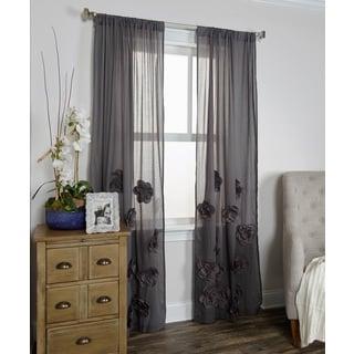 Arden Loft Thistle Terrace Black Cotton Blend Curtain Panel