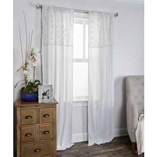 Arden Loft Coquette Collection White Cotton Curtain Panel