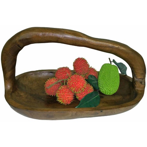 Teak Wood Basket with Handle (Vietnam)